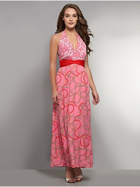 Floral and Chain-Link Print Maxi Dress