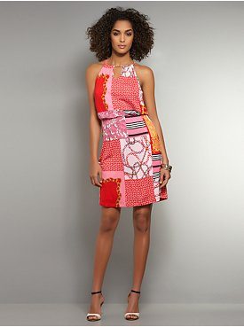 Abstract Print Chain-Link Detail Dress