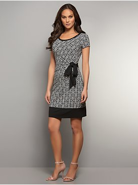 Chain-Link Print Side-Tie Dress