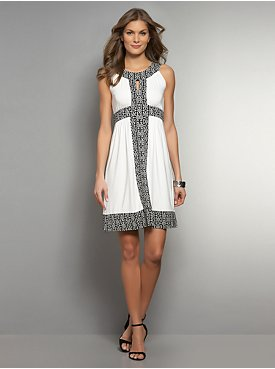 Chain-Print Trim White Sheath Dress