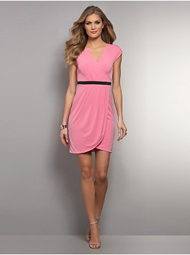 Pleated Tulip Wrap Dress - Pink & Red