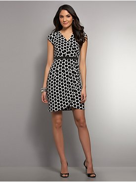 Dot-Print Tulip Hem Dress