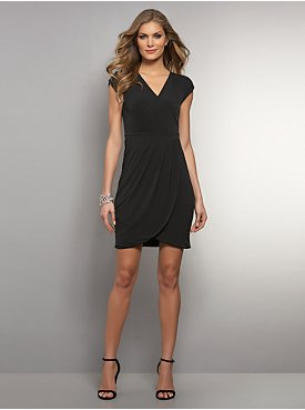 Pleated Tulip Wrap Dress - Black