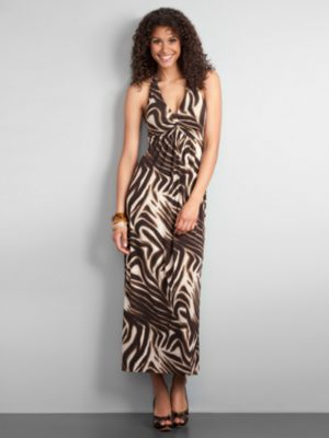 City Style Animal Print Halter Maxi Dress