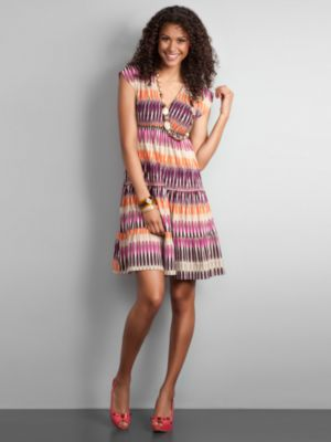 City Stretch Tiered Print Dress