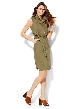 Faux Wrap Dress with Side Pleats