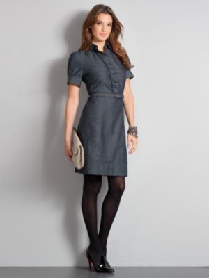 New York & Company Women's City Style Belted Denim Ruffle Shirtdress - Indigo