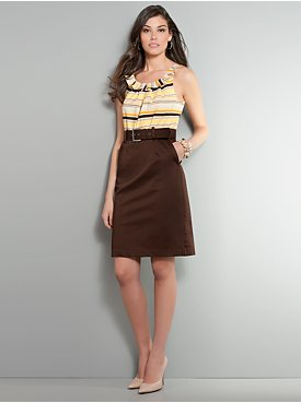 Ruffle and Striped Belted Dress