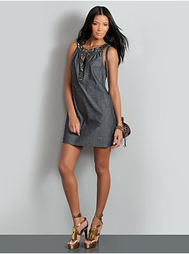 New York  & Company - View All - The Mercer Street Sleeveless Dress - Denim