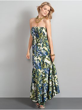 New York  & Company - View All - The City Strapless Maxi Dress - Tropical Print