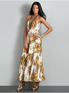 New York  & Company - Dresses - The City Strapless Maxi Dress - Palm Print