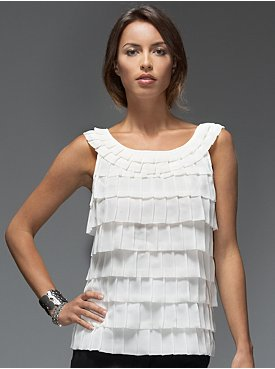 New York & Company: Collection Cascade Ruffle Blouse :  blouse cascade white top white blouse