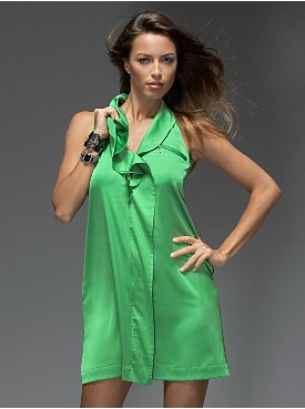 New York & Company: Collection Ruffle Dress :  holiday ruffle ruffles green dress