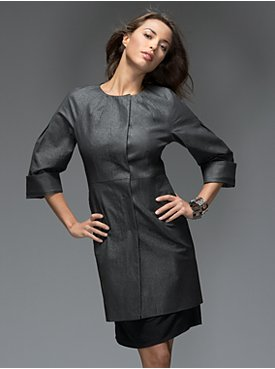 New York & Company: Collection Metallic Coat - Black :  jacket overcoat metallic coat outerwear