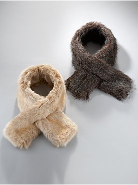 New York  & Company Pull-Through Faux Fur Scarf