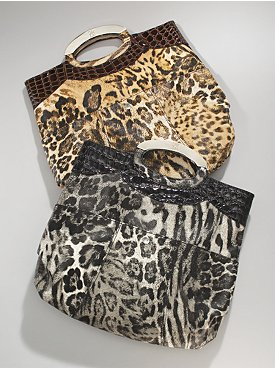 New York  & Company - Leopard Print Faux Patent Foldover Clutch