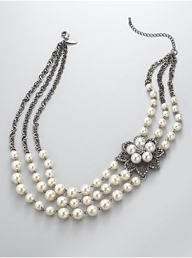 New York  & Company - View All - Faux Pearl Flower Necklace