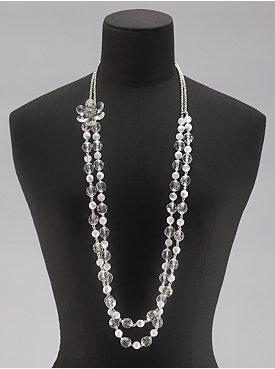 White Bead and Lucite Flower Necklace