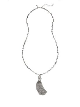 Silvertone Long Tassel Pendant Necklace