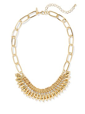 Lucite Tube & Goldtone Chain-Link Necklace