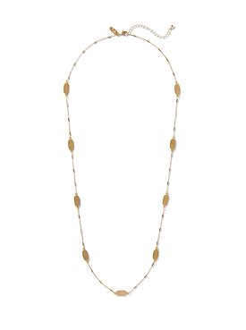 Golden Beads and Draped Chains Bib Necklace