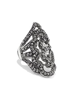 Filagree Silvertone Ring