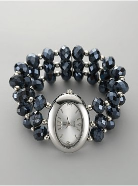 Oval Watch with Faceted Beads Band