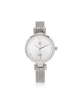 Mesh Strap Watch with Rhinestone Embellishment