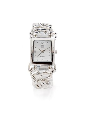 Silvertone Chain Link Rectangular Watch