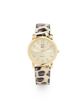 Leopard-Print Band Watch