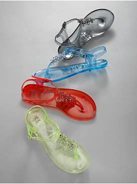 New York & Company City Style Beaded Jelly Sandals