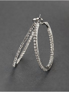 City Bright Shimmering Glass Goldtone Hoop Earrings