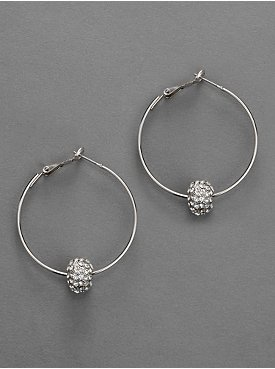 City Bright Silvertone Fireball-Accented Hoop Earrings