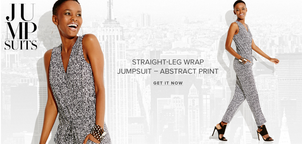 Straight-Leg Wrap Jumpsuit - Abstract Print - New York & Company