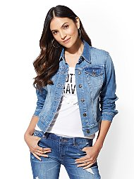 Display product reviews for Denim Jacket - Blue Society