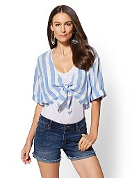 Display product reviews for White Stripe Tie-Front Top