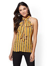 Display product reviews for 7th Avenue - Stripe Tie-Front Halter Blouse