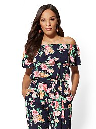 Display product reviews for Navy Floral Off-The-Shoulder Blouse