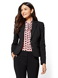 Display product reviews for 7th Avenue - Topstitched Two-Button Jacket - All-Season Stretch