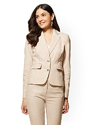 Display product reviews for 7th Avenue - Tan Two-Button Jacket - City Stretch Linen Flex