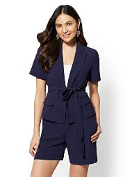 Display product reviews for 7th Avenue Navy Open- Front Jacket