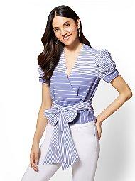 Display product reviews for Blue & White Striped Wrap Poplin V-Neck Shirt