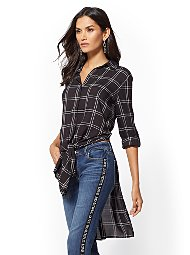 Display product reviews for Soho Soft Shirt - Plaid Hi-Lo Tie-Front Tunic