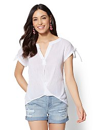 Display product reviews for Soho Soft Shirt - Split-Neck Twist-Front Blouse