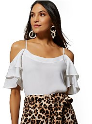 Display product reviews for 7th Avenue - Cold-Shoulder Blouse