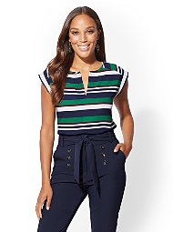 Display product reviews for 7th Avenue - Stripe Split-Neck Top