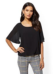 Display product reviews for Flounced-Sleeve Scoopneck Top