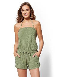 Display product reviews for Strapless Terry Romper