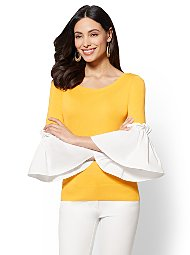 Display product reviews for 7th Avenue - Flounced-Sleeve Sweater