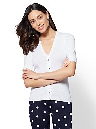 Display product reviews for 7th Avenue - V-Neck Jeweled-Button Chelsea Cardigan